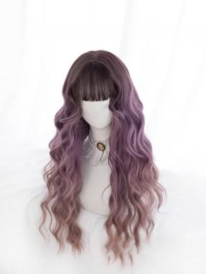Evahair Purplish-Pink to Brown Ombre Long Wavy Synthetic Wig with Bangs
