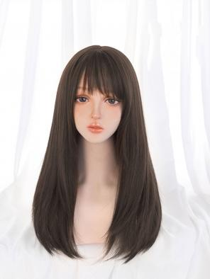 Evahair Dark Brown Long Straight Synthetic Wig with Bangs