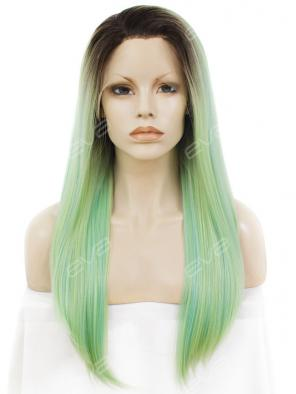 Light green Mixed color Long Straight Synthetic Lace Front Wig