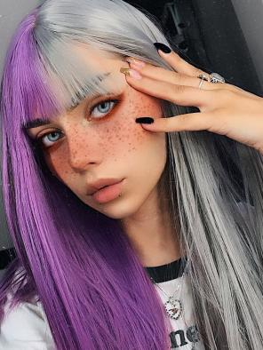Evahair Half Purple and Half Grey Wefted Cap Long Straight Synthetic Wig wiht Bangs