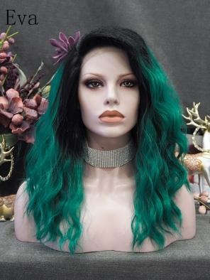 Evahair Black To Bright Green Medium length Wavy Synthetic Lace Front wig