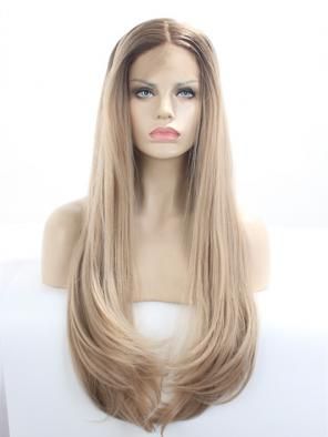 Chic LONG NATURAL Honey Blonde SYNTHETIC LACE FRONT WIG