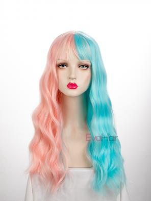 Evahair Half Pink and Half Blue Wefted Cap Wavy Synthetic Wig with Bangs