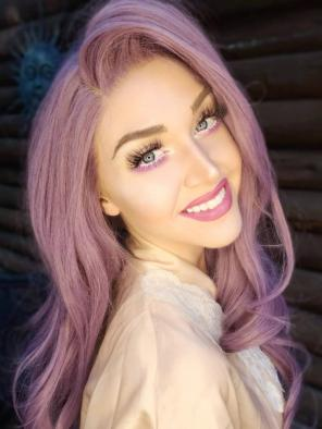 Dusty Lavender Synthetic Lace Front Wig