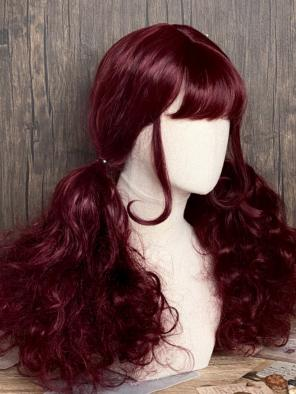 Evahair Red Wine Color Medium Length Wavy Synthetic Wig with Bangs