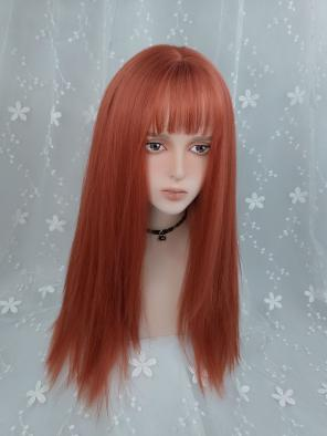 Evahair Orange Long Straight Synthetic Wig with Bangs