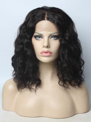 EvaHair Classical Black Wavy Bob Synthetic Lace Front Wig