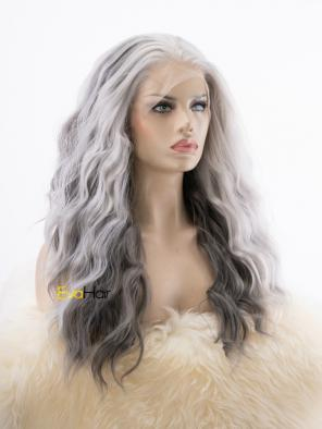 Granny Grey Fashion Wavy Synthetic Lace Front Wig