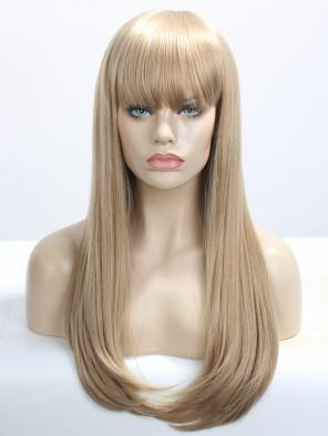 Golden Blonde Wefted Cap Long Straight Synthetic Wig with Bangs