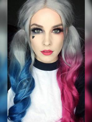 "Come Back- EvaHair ""Harley Quinn"" Inspired Hair Color Half Blue Half Pink Synthetic Lace Front Wig"