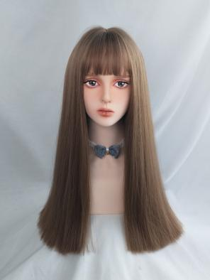 Evahair Daily Brown Long Straight Synthetic Wig with Bangs