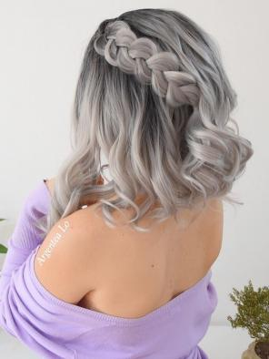 EvaHair Grey Ombre Wavy Medium Length Synthetic Lace Front Wig