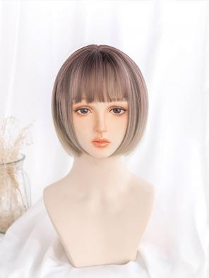 Evahair Chestnut Ombre Short Straight Bob Synthetic Wig with Bangs