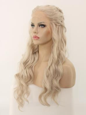 Game of Throne Daenerys Inspired Grayish Blonde Synthetic Lace Front Wig