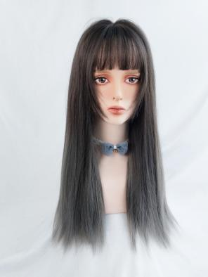 Evahair Dark Brown to Grey Ombre Long Straight Synthetic Wig with Bangs