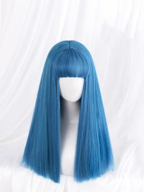 Evahair Lake Blue Long Straight Synthetic Wig with Bangs
