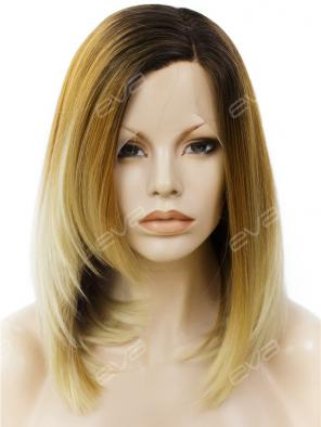 Dark Blonde to Light Golden Straight Layered Cut Synthetic Lace Front Wig