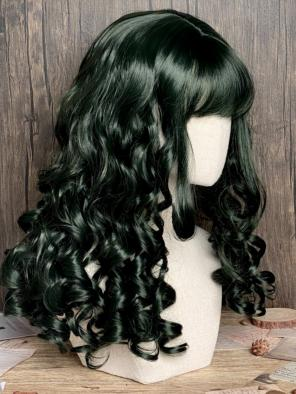 Evahair Dark Green Medium Length Wavy Synthetic Wig with Bangs