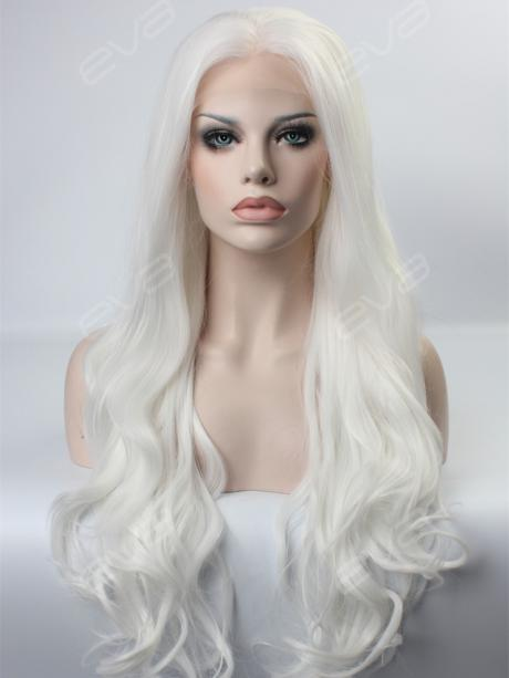 gorgeous white long wavy synthetic lace front wig  all