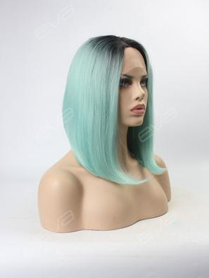 EvaHair Special Offer Pastel Blue Ombre Color Graduated Cut Lace Front Synthetic Wig