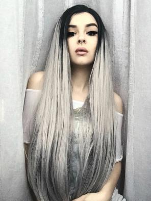 New Dark Grey T-color Super Long Straight Synthetic Lace Front Wig