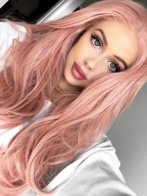 EvaHair Candy Pink Long with Sexy Wavy Synthetic Lace Front Wig