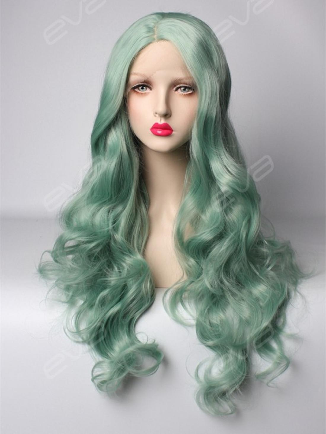 Evahair Pastel Mint Long Wavy Natural Parting Synthetic