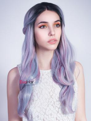 Unicorn Lavender Purple Mixed Pink Synthetic Lace Front Wig