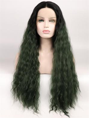 Army Green T Color with Slight Wavy Synthetic Lace Front Wig
