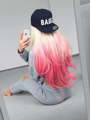 ( Sold Out )Blonde to Pink Straight Synthetic Lace Front Wig