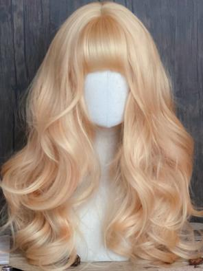 Evahair Sandy Golden Long Wavy Synthetic Wig with Bangs