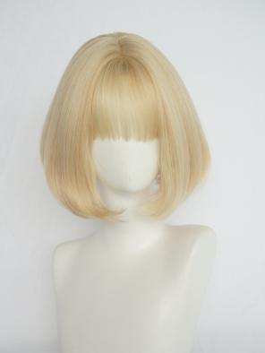 Evahair Golden Short Straight Synthetic Wig with Bangs