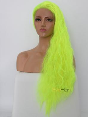 Stage Color Fluorescent Green Long Wavy Synthetic Lace Front Wig
