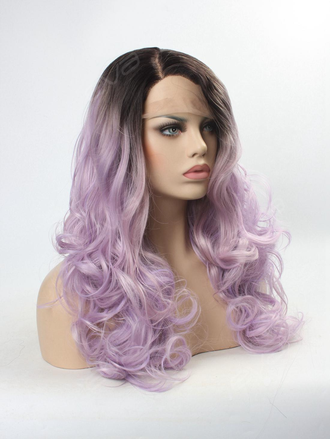 Lilac Purple Ombre Long Wavy Synthetic Lace Front Wig