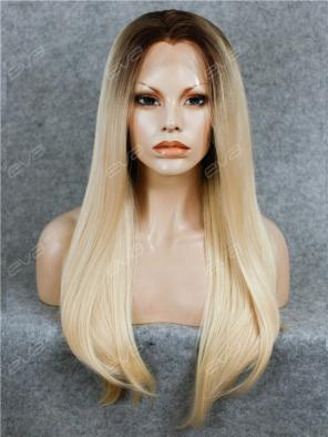 Best Seller Blonde Ombre Color Long Straight Synthetic Lace Front Wig