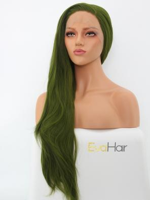 Long Straight Green Hair Heat Friendly Synthetic Lace Front Wig
