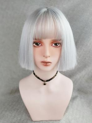 Evahair Silver Chin Length Straight Synthetic Wig with Bangs