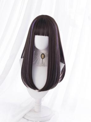 Evahair Brown and Purple Mixed Color Medium Length Straight Synthetic Wig with Bangs
