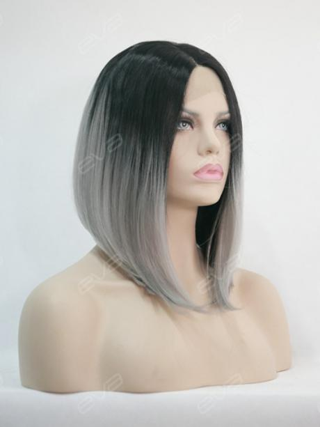 EvaHair Angled Cut Grey Ombre Color Fashion Bob Synthetic Wig - All ...