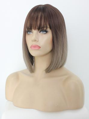 Sand Brown Ombre Straight Chin Length Bob Synthetic Wig with Wispy Bangs