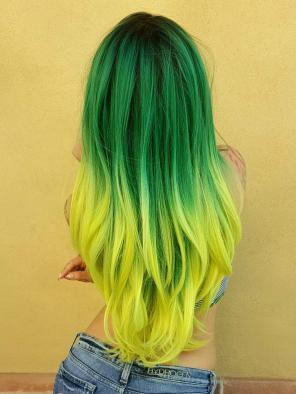 Dark Green to Yellow Ombre Long Straight Synthetic Lace Front Wig