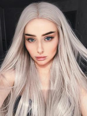 White Grey Long Straight Synthetic Lace Front Wig