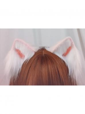Evahair Cute White and Pink Lolita Furry Cat-Ears Hairpin