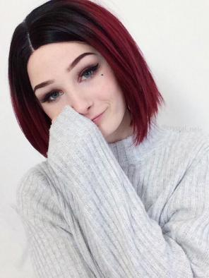 New Sexy Red Short Bob Synthetic Lace Front Wig
