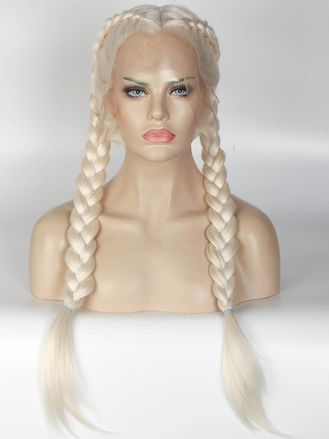 Long Straight Blonde Synthetic Lace Front Wig All