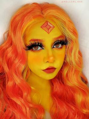 Evahair Orange and Fore Yellow Long Wavy Synthetic Lace Front Wig