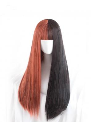 Evahair Half Black and Half Orange Long Straight Synthetic Wig with Bangs