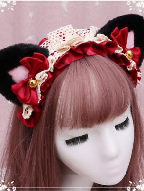 Evahair Cute Christmas Dark and Pink Furry Car-Ears Hairpin