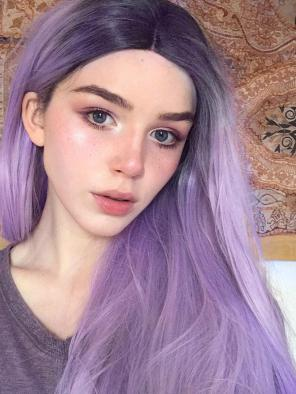 2018 New Purple to Lavender Ombre Synthetic lace front wig