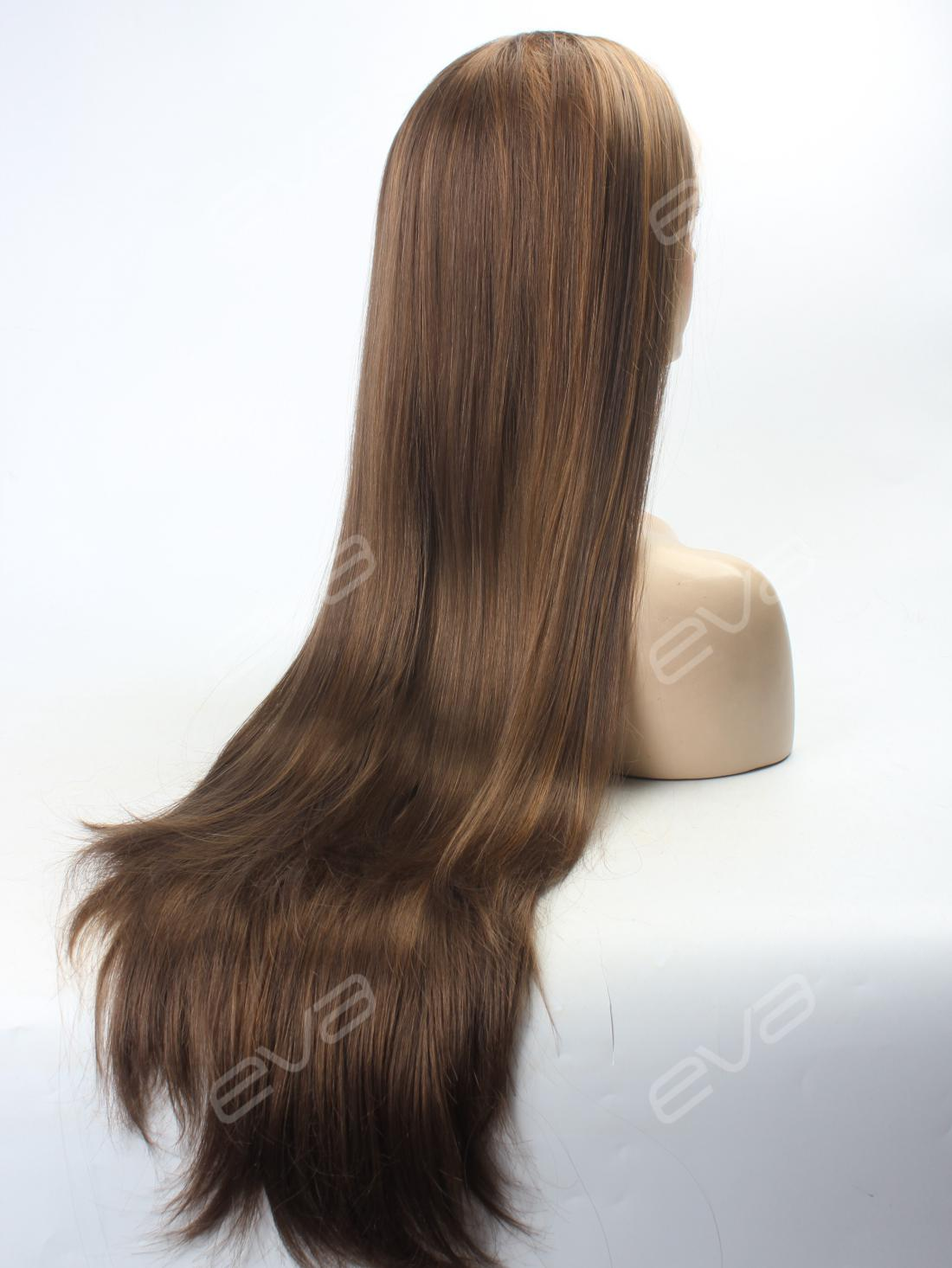 Natural Ash Brown Color Super Long Synthetic Lace Front
